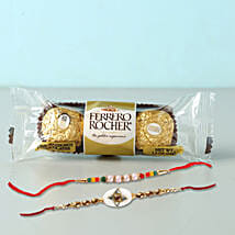 Set of 2 Fancy Rakhis With Rochers: Rakhi With Chocolates To Indonesia