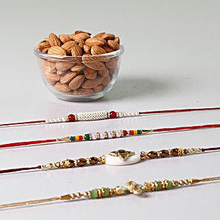 Set Of 4 Rakhis And Almonds Combo: Rakhi With Dryfruits To Indonesia