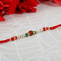 Single Rudraksha Diamond Rakhi: Send Rakhi to Italy