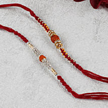 Two Premium Rudraksh Maroon Rakhi Set: Rakhi Delivery in Italy