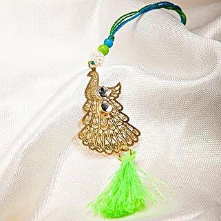 Attractive Metallic Peacock Lumba Rakhi: Rakhi Gifts to Jordan