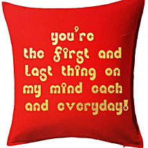 Red Printed Cushion With Love Quote: Send Gifts to Kuwait