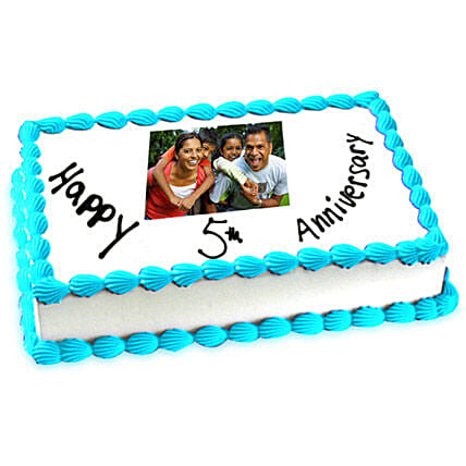5th Anniversary Photo Cake 1kg by FNP