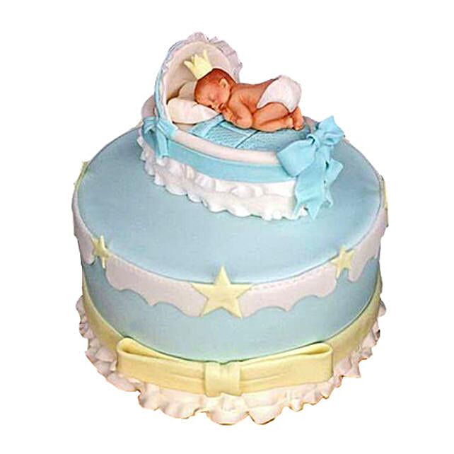 Baby In The Crib Fondant Cake 3kg Chocolate Eggless