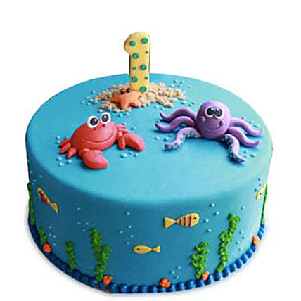 Baby Sea Animals Cake 4kg Eggless Pineapple