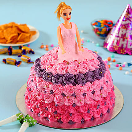 Barbie in Floral Roses Cake Vanilla 2kg Eggless
