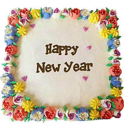Beautiful Happy New Year Cream Cakes Half kg