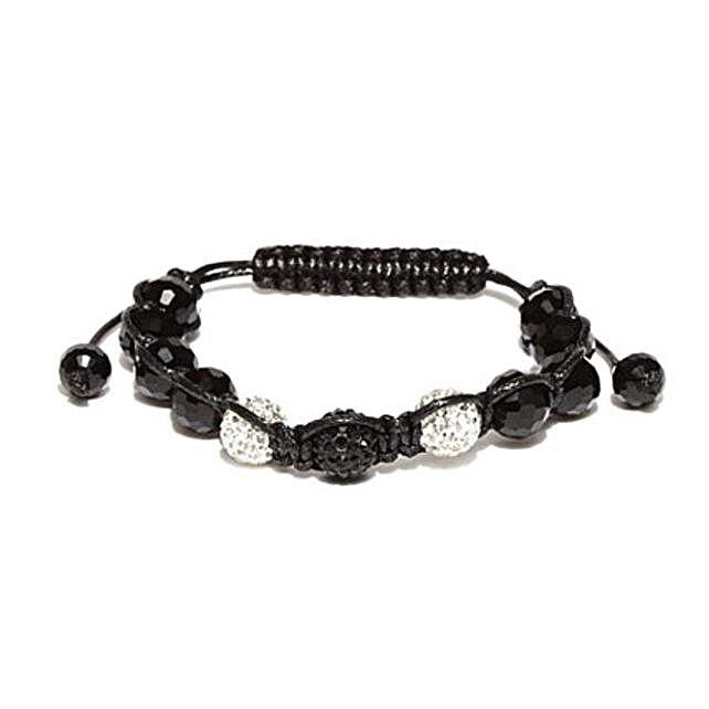 Black Beaded Macrame Bracelet