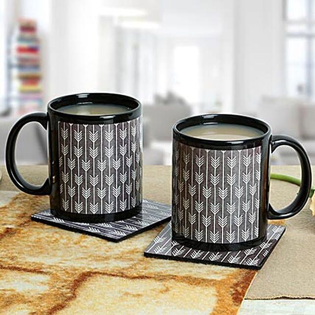 Black Duo Mugs With Coasters