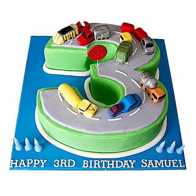 Cars Birthday Cake 3kg Eggless Vanilla