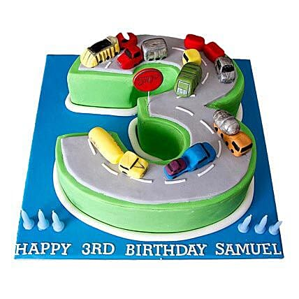 Cars Birthday Cake 4kg Eggless Pineapple
