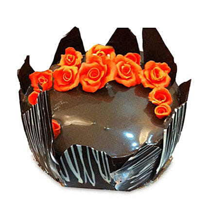 Chocolate Cake With Red Flowers 2kg Eggless