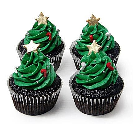 Christmas Tree Cupcakes 12 Eggless