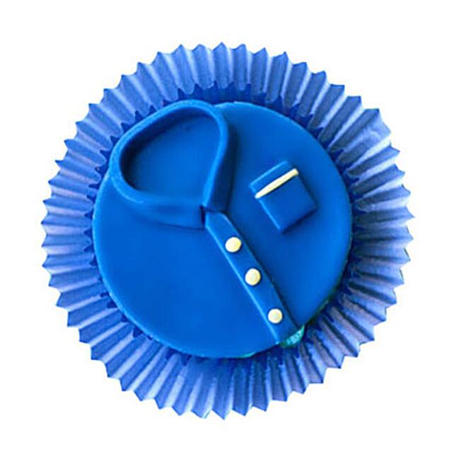 Customized Blue tshirt Cupcakes 6 Eggless