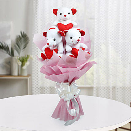 cute bouquet of teddy bear gift a bouquet of three red and white