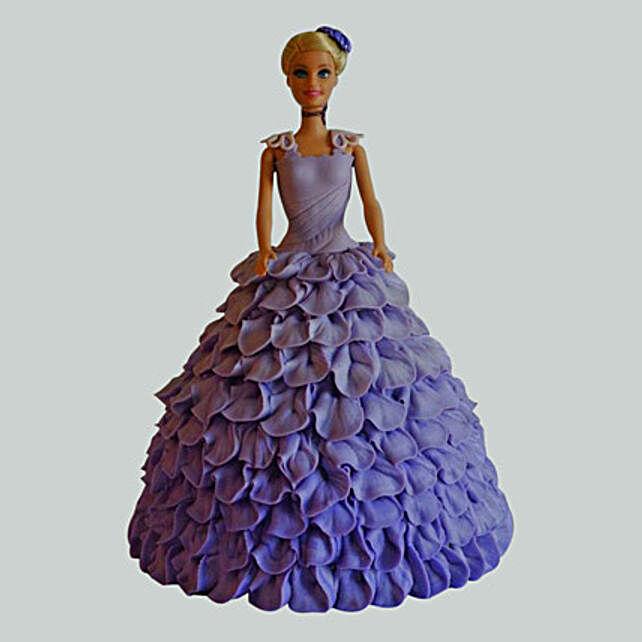 Dazzling Blue Barbie Cake Vanilla 3kg Eggless