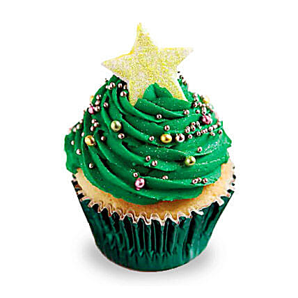 Decorative Christmas Tree Cupcakes 12 Eggless