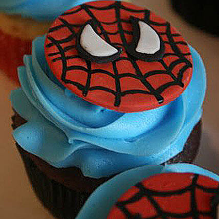 Delicious Spiderman Cupcakes 6 Eggless