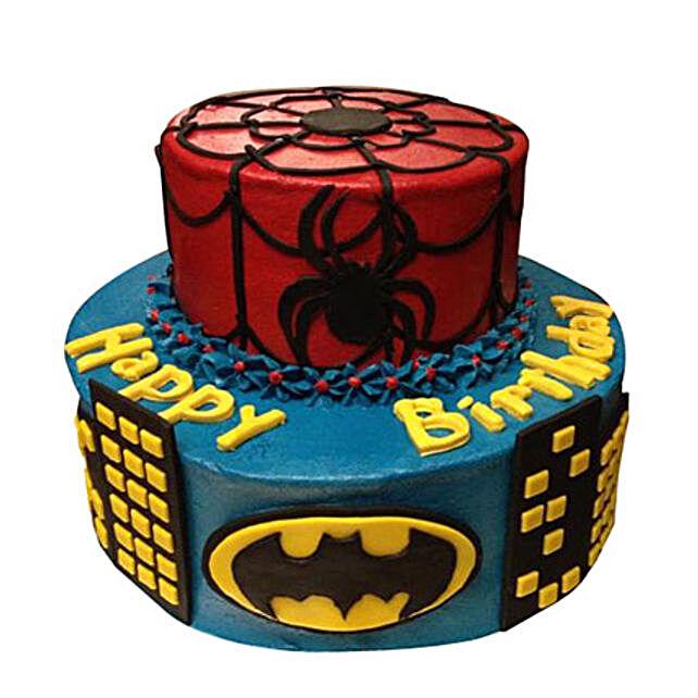 Dual Batman Spiderman Cake 5kg Eggless