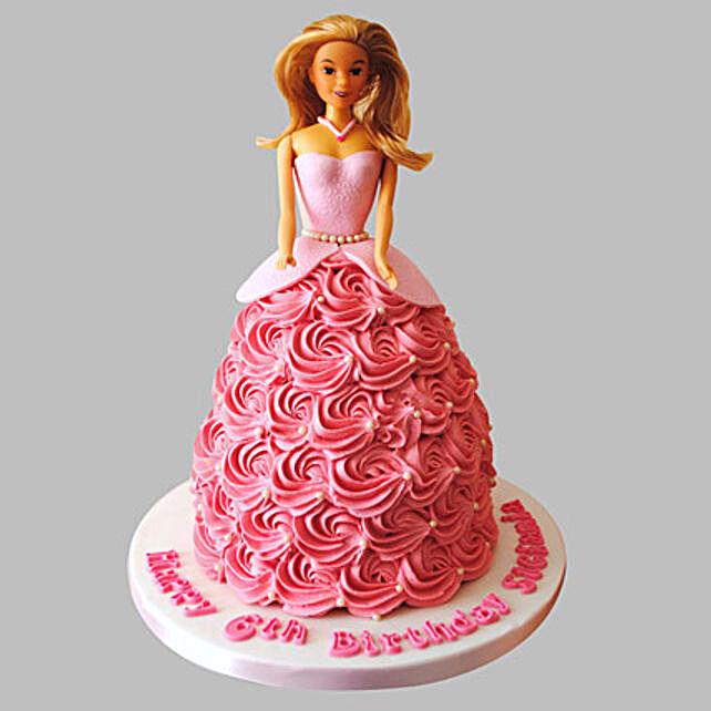 Flamboyant Barbie Cake Truffle 2kg Eggless