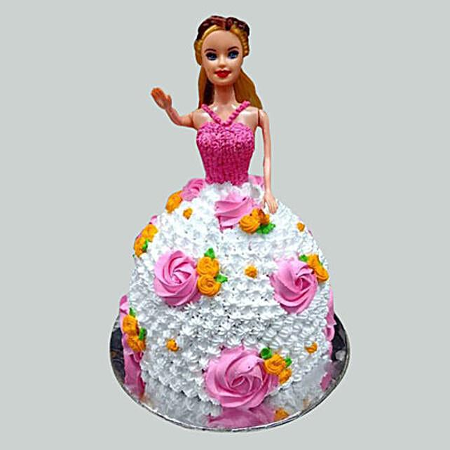 Floral Barbie Cake Butterscotch 3kg Eggless