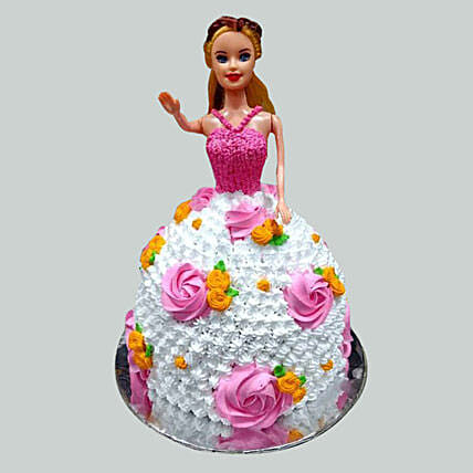 Floral Barbie Cake Chocolate 3kg Eggless