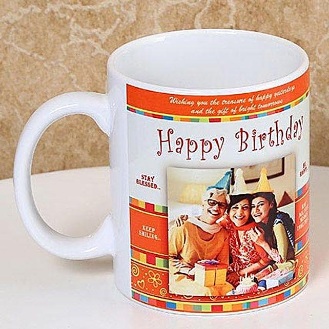Gift Cheers On The Birthday-Personalized Mug,White And Orange