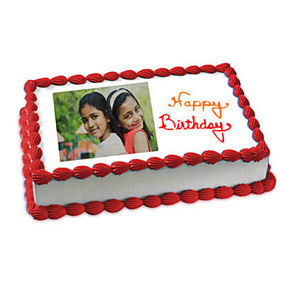 Happy Birthday Photo Cake 1kg Eggless Vanilla