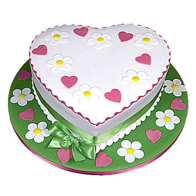 Heart Shape Designer Cake 2kg Vanilla Eggless