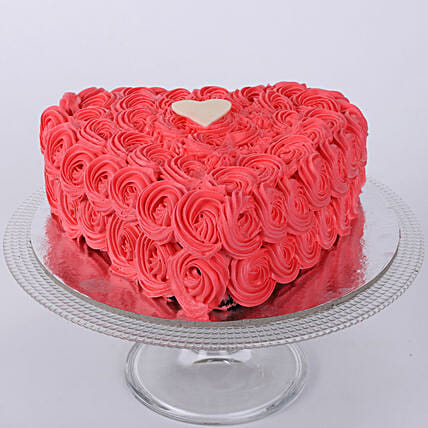 Hot Red Valentine Heart Cake 1kg Eggless Vanilla
