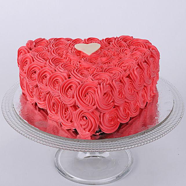 Hot Red Valentine Heart Cake 1kg Vanilla
