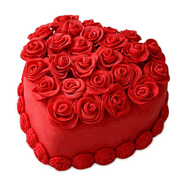 Hot Red Valentine Heart Cake 2kg Eggless Vanilla