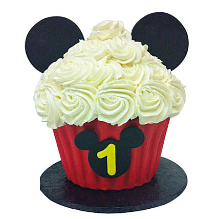 Mickey Mouse Floral Cupcake 24 Eggless
