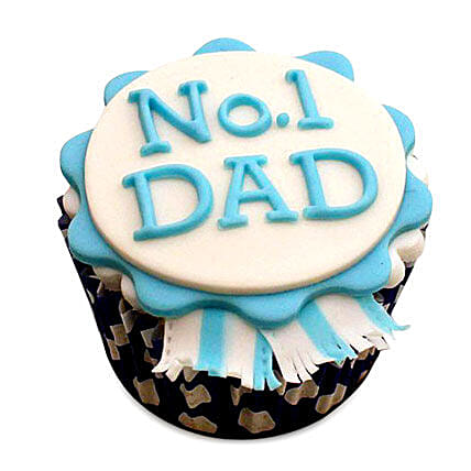 No.1 Dad Designer Cupcake 24 Eggless