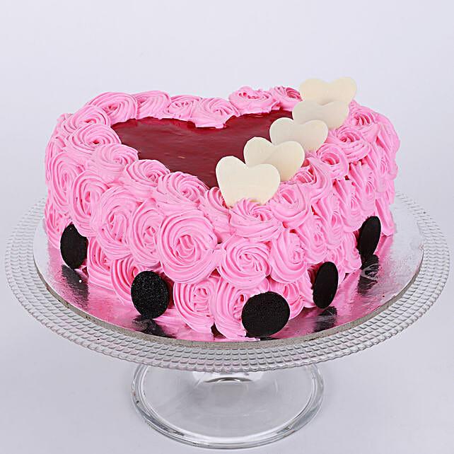 Pink Flower Heart Cake 1kg Eggless Vanilla