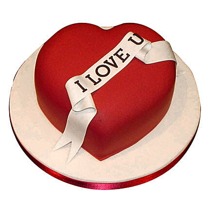 Red Heart love you Valentine cake 2kg Eggless Vanilla