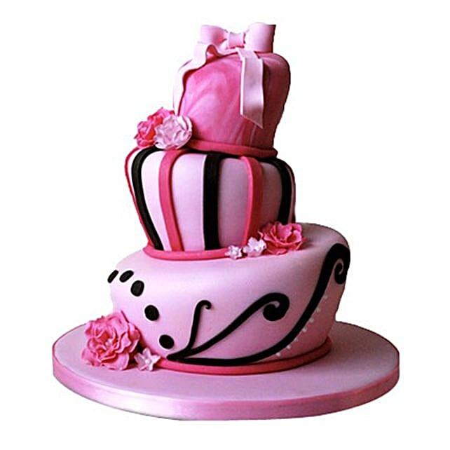 Stunning Pink Wedding Cake 5kg Eggless