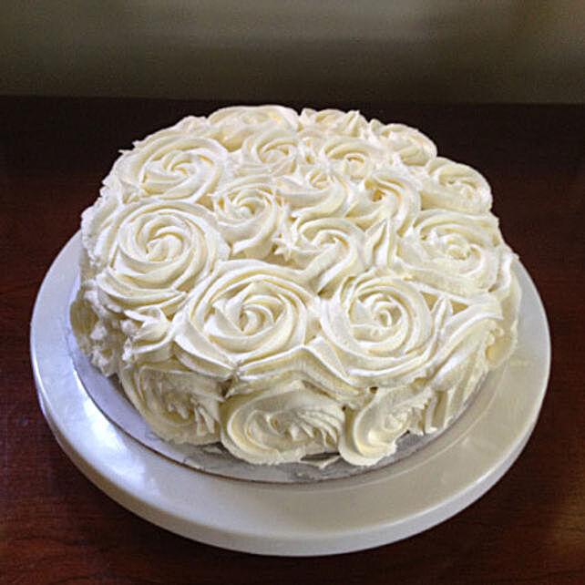 White Rose Cake 1kg Chocolate Eggless