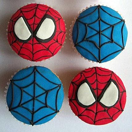 World of Spiderman Cupcakes 24 Eggless