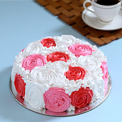 Yummy Colourful Rose Cake 1 Kg Eggless Vanilla