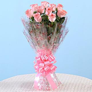 10 Charming Pink Roses Bouquet: Karwa Chauth Gifts Bengaluru