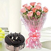 10 Pink Roses And Chocolate Cake Combo: Send Flowers to Dhule