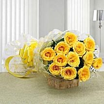 12 Delightful Yellow Roses Bouquet:
