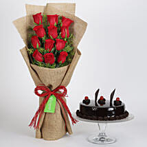 12 Layered Red Roses Bouquet & Truffle Cake: Diwali Gifts Bareilly