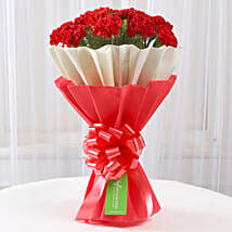 12 Red Carnations Bouquet in Red & White Paper: Red Flowers