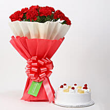 12 Red Carnations & Pineapple Cake Combo: Valentines Day Flowers & Cakes