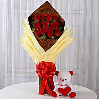 12 Red Roses & Teddy Bear Combo: Valentine Flowers & Teddy Bears