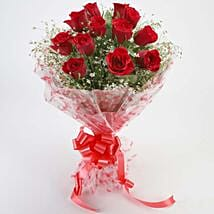 12 Velvety Red Roses Bouquet: Flower Delivery in Dhule