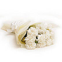 12 White Carnations: Flowers for Sympathy & Funeral