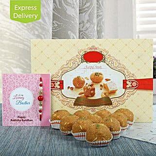 1Kg Besan Ladoo N Rakhi: Send Rakhi With Sweets to Bhubaneshwar